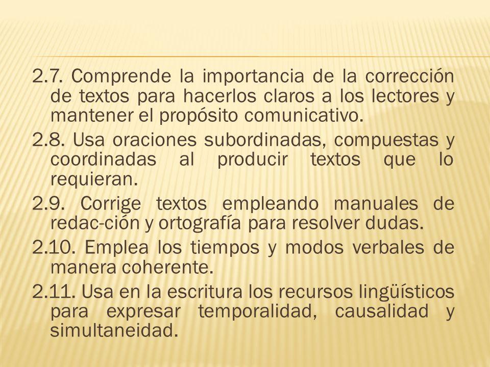 2.7. Comprende la importancia de la corrección de textos para hacerlos claros a los lectores y mantener el propósito comunicativo.