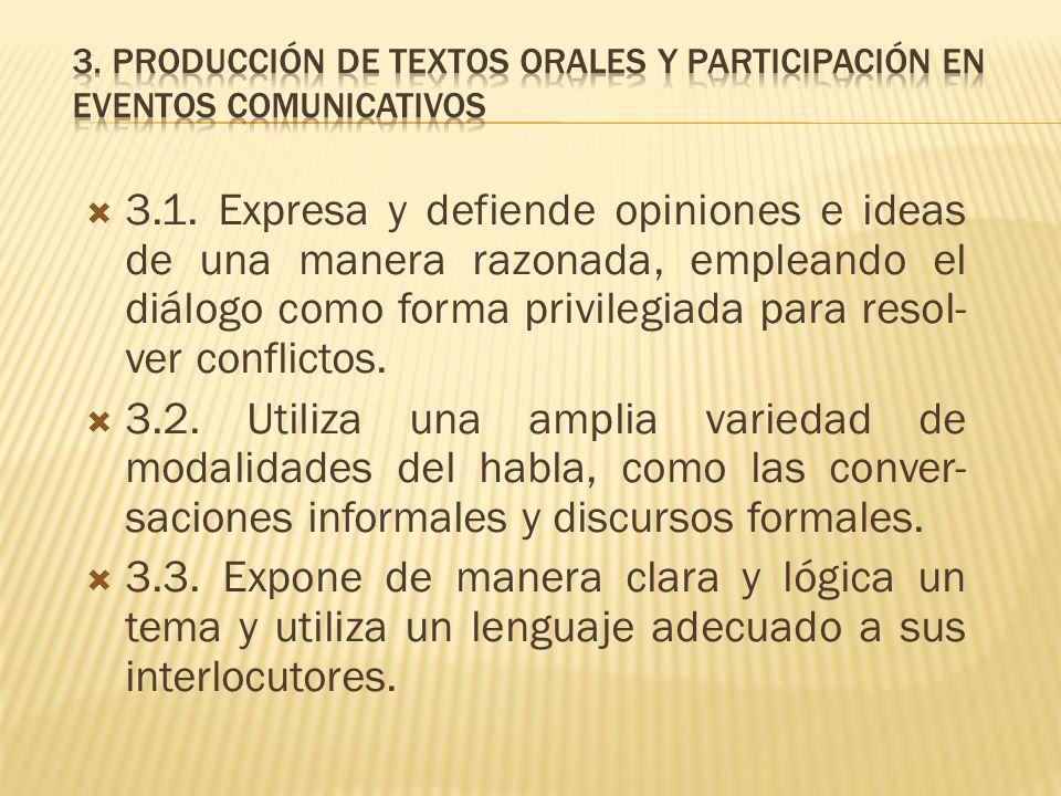 3. Producción de textos orales y participación en eventos comunicativos