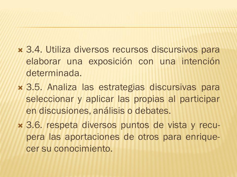 3.4. Utiliza diversos recursos discursivos para elaborar una exposición con una intención determinada.