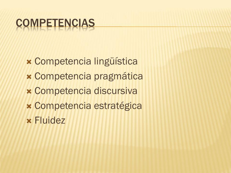 Competencias Competencia lingüística Competencia pragmática