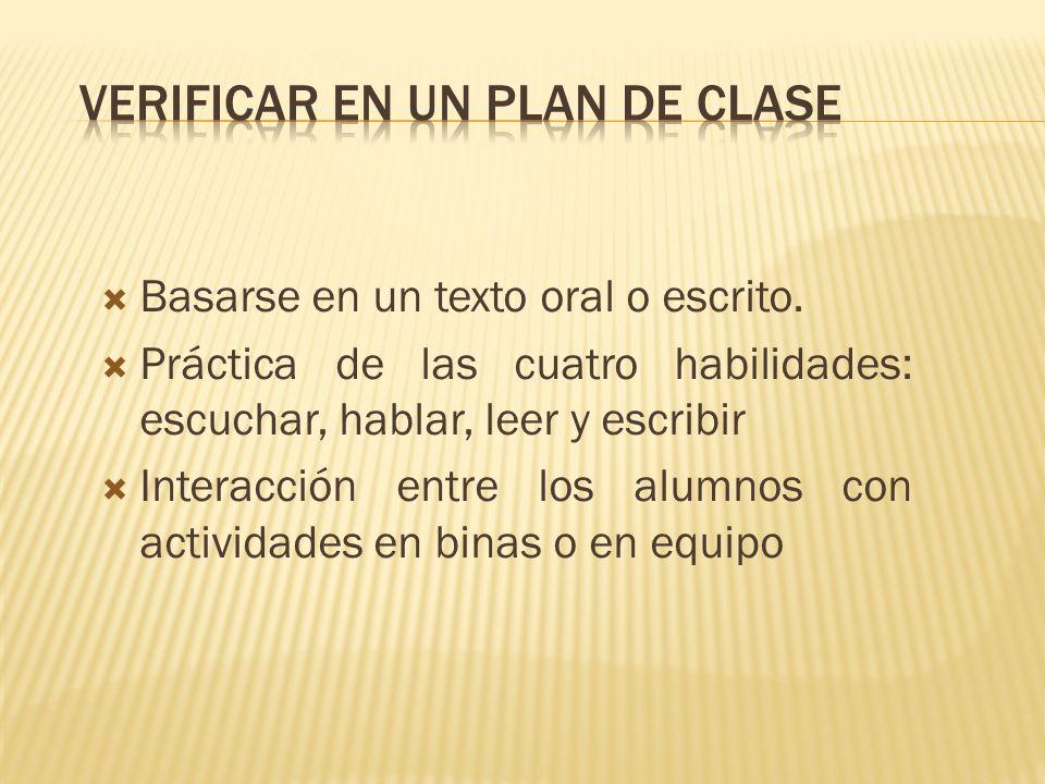 Verificar en un plan de clase