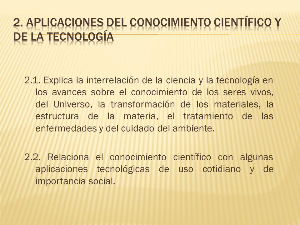 2. Aplicaciones del conocimiento científico y de la tecnología