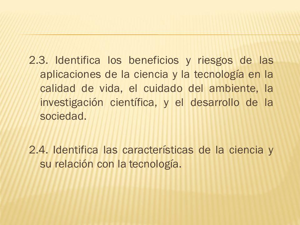2.3. Identifica los beneficios y riesgos de las aplicaciones de la ciencia y la tecnología en la calidad de vida, el cuidado del ambiente, la investigación científica, y el desarrollo de la sociedad.