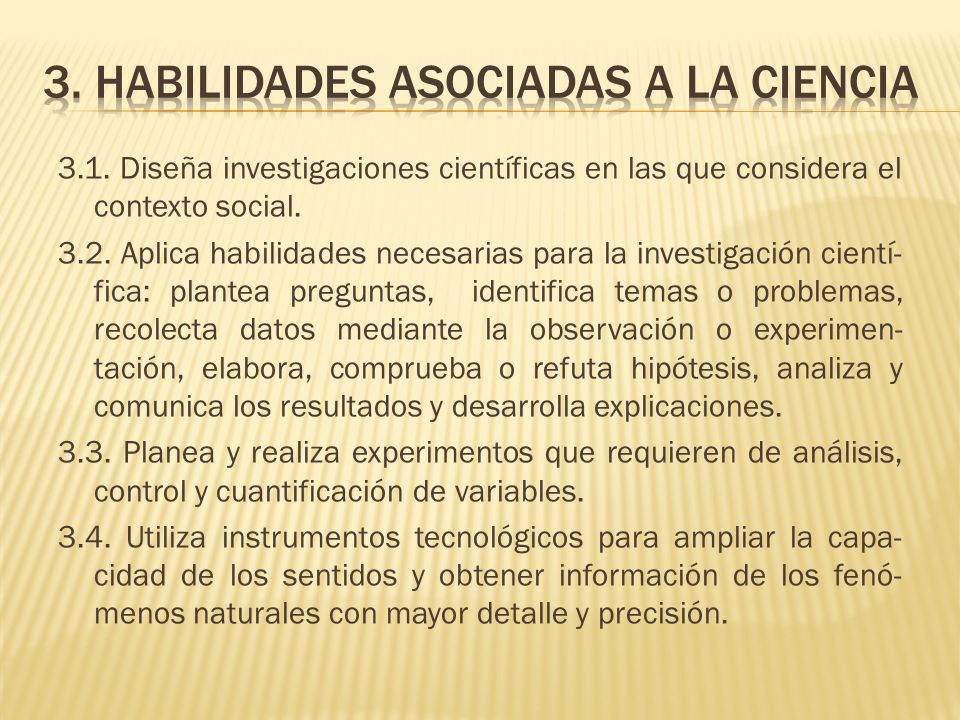3. Habilidades asociadas a la ciencia