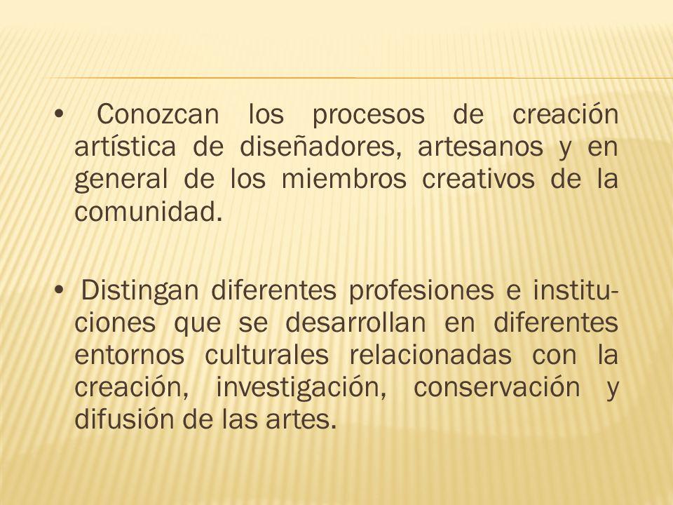 • Conozcan los procesos de creación artística de diseñadores, artesanos y en general de los miembros creativos de la comunidad.