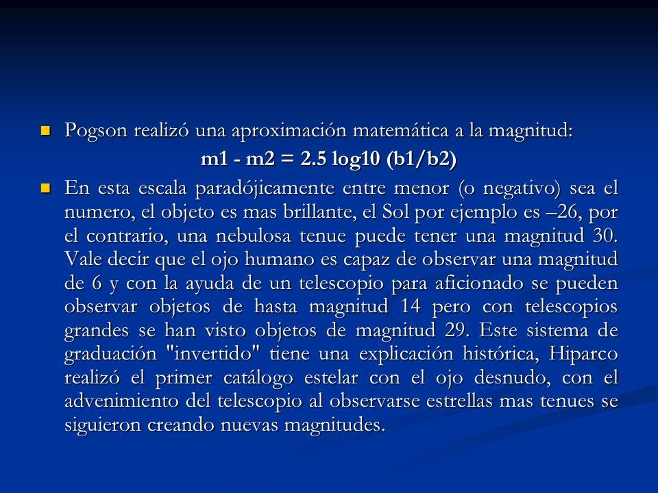Pogson realizó una aproximación matemática a la magnitud: