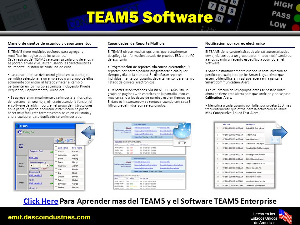 Click Here Para Aprender mas del TEAM5 y el Software TEAM5 Enterprise