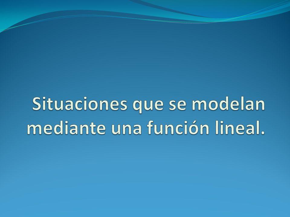 Situaciones que se modelan mediante una función lineal.