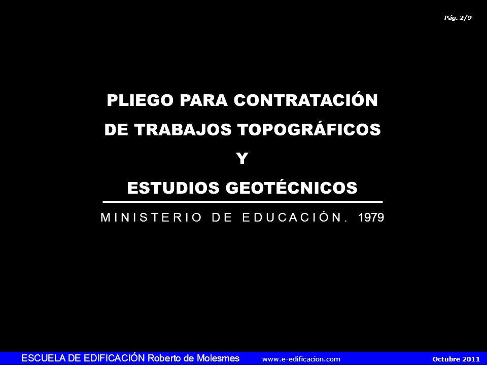 PLIEGO PARA CONTRATACIÓN DE TRABAJOS TOPOGRÁFICOS Y