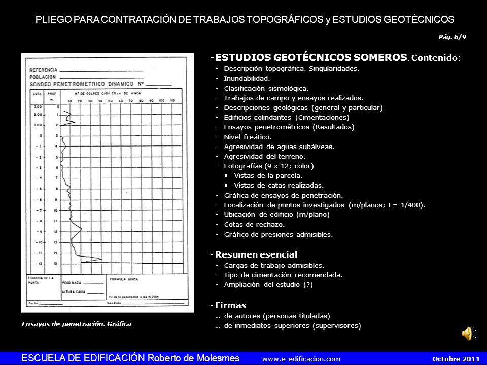 ESTUDIOS GEOTÉCNICOS SOMEROS. Contenido: