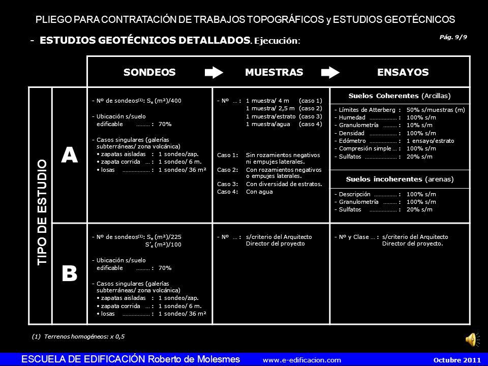 PLIEGO PARA CONTRATACIÓN DE TRABAJOS TOPOGRÁFICOS y ESTUDIOS GEOTÉCNICOS