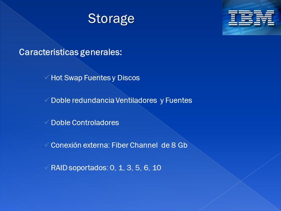Storage Caracteristicas generales: Hot Swap Fuentes y Discos