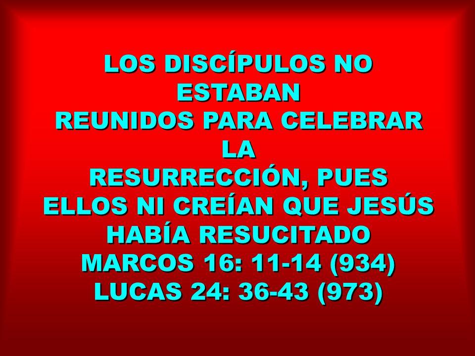 LOS DISCÍPULOS NO ESTABAN REUNIDOS PARA CELEBRAR LA RESURRECCIÓN, PUES