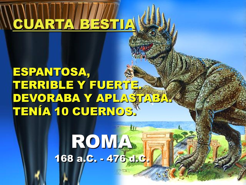 ROMA CUARTA BESTIA ESPANTOSA, TERRIBLE Y FUERTE. DEVORABA Y APLASTABA.