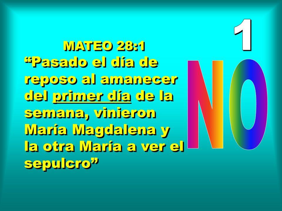 1 MATEO 28:1. Pasado el día de reposo al amanecer del primer día de la semana, vinieron María Magdalena y la otra María a ver el sepulcro