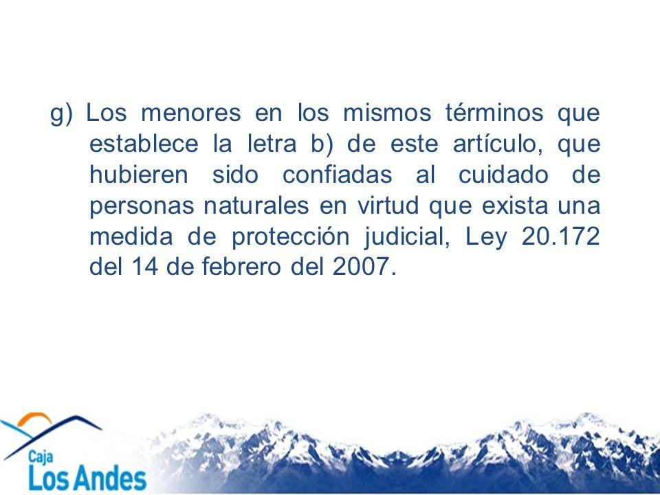 g) Los menores en los mismos términos que establece la letra b) de este artículo, que hubieren sido confiadas al cuidado de personas naturales en virtud que exista una medida de protección judicial, Ley 20.172 del 14 de febrero del 2007.