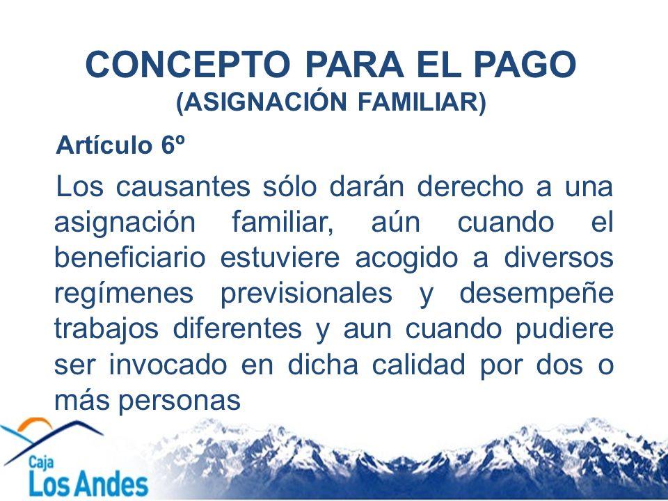 CONCEPTO PARA EL PAGO (ASIGNACIÓN FAMILIAR)