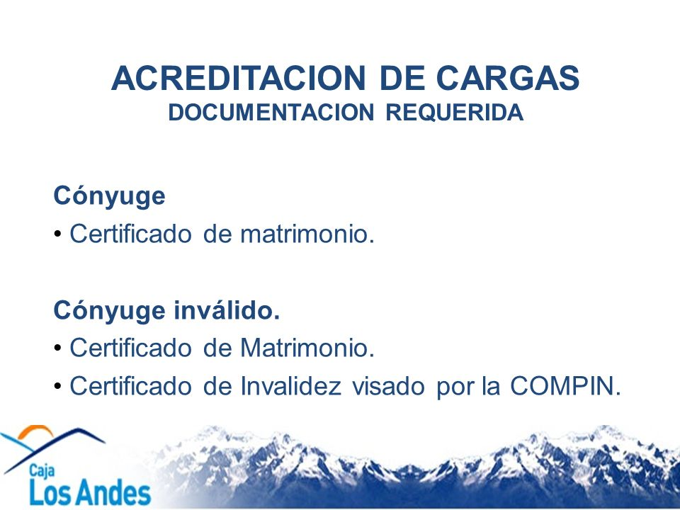 ACREDITACION DE CARGAS DOCUMENTACION REQUERIDA