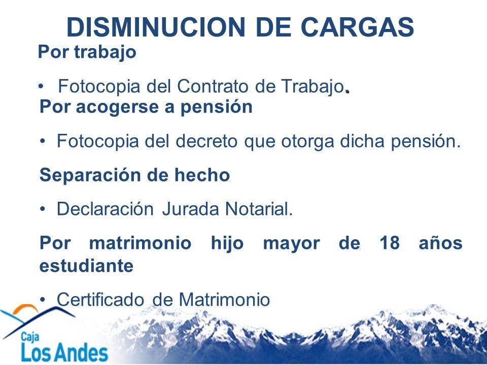 DISMINUCION DE CARGAS Por trabajo Fotocopia del Contrato de Trabajo.