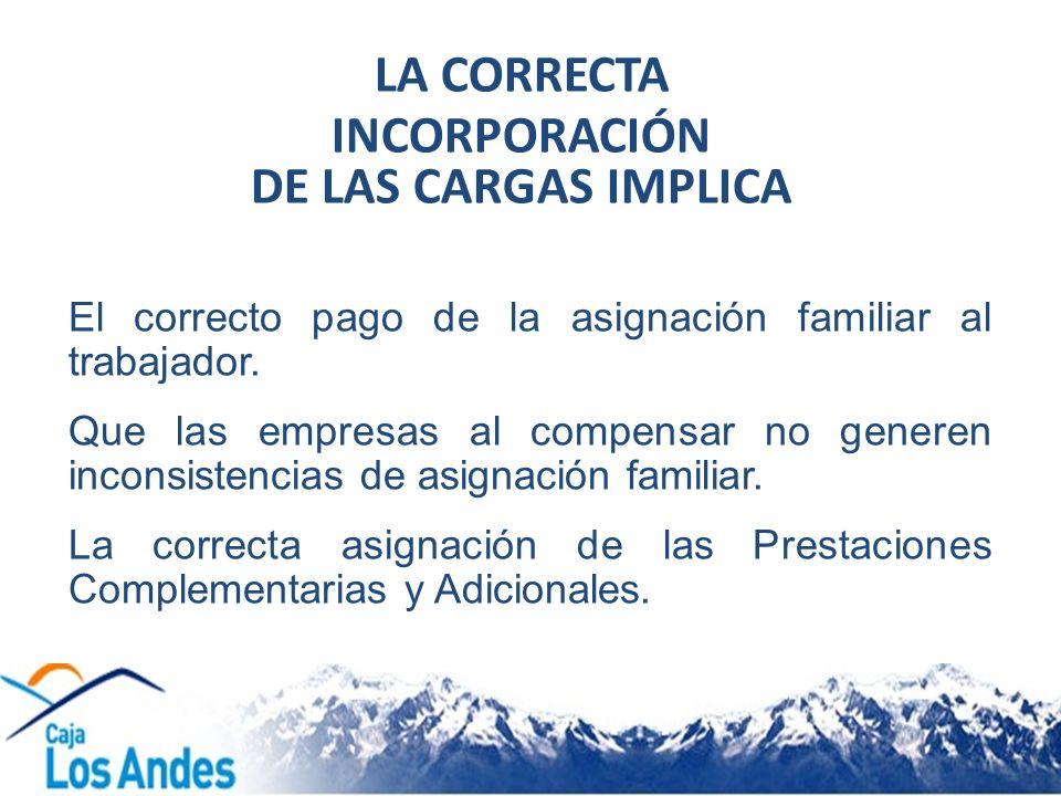 LA CORRECTA INCORPORACIÓN DE LAS CARGAS IMPLICA
