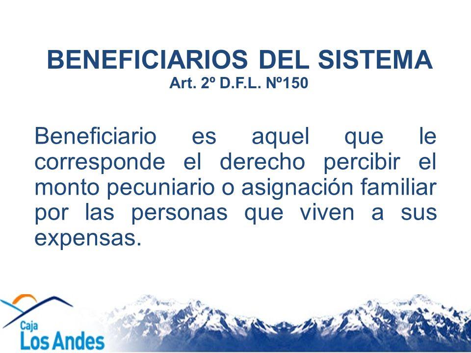 BENEFICIARIOS DEL SISTEMA Art. 2º D.F.L. Nº150