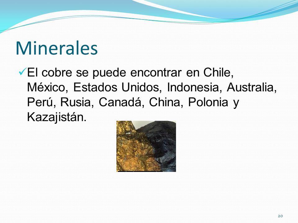 Minerales El cobre se puede encontrar en Chile, México, Estados Unidos, Indonesia, Australia, Perú, Rusia, Canadá, China, Polonia y Kazajistán.