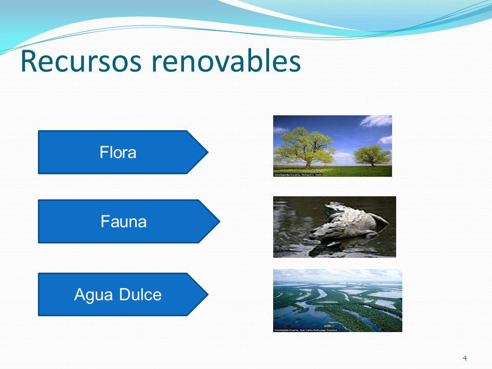 Recursos renovables Flora Fauna Agua Dulce