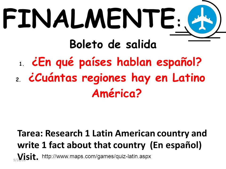FINALMENTE: Boleto de salida ¿En qué países hablan español