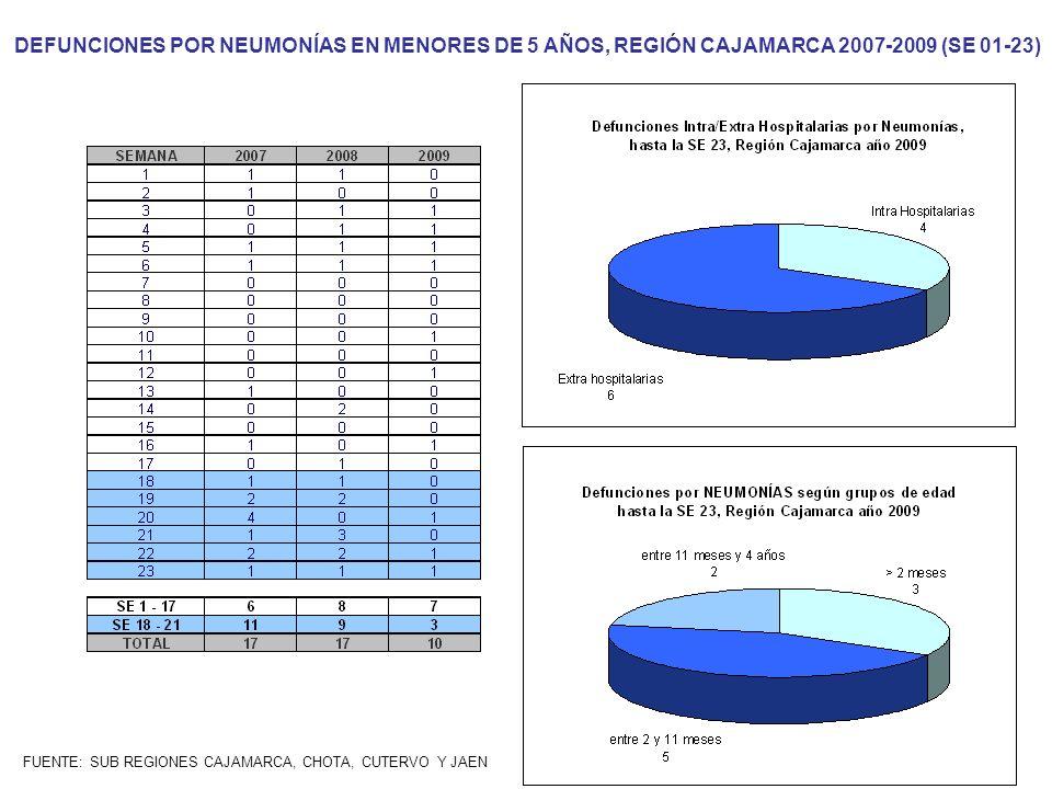 DEFUNCIONES POR NEUMONÍAS EN MENORES DE 5 AÑOS, REGIÓN CAJAMARCA 2007-2009 (SE 01-23)