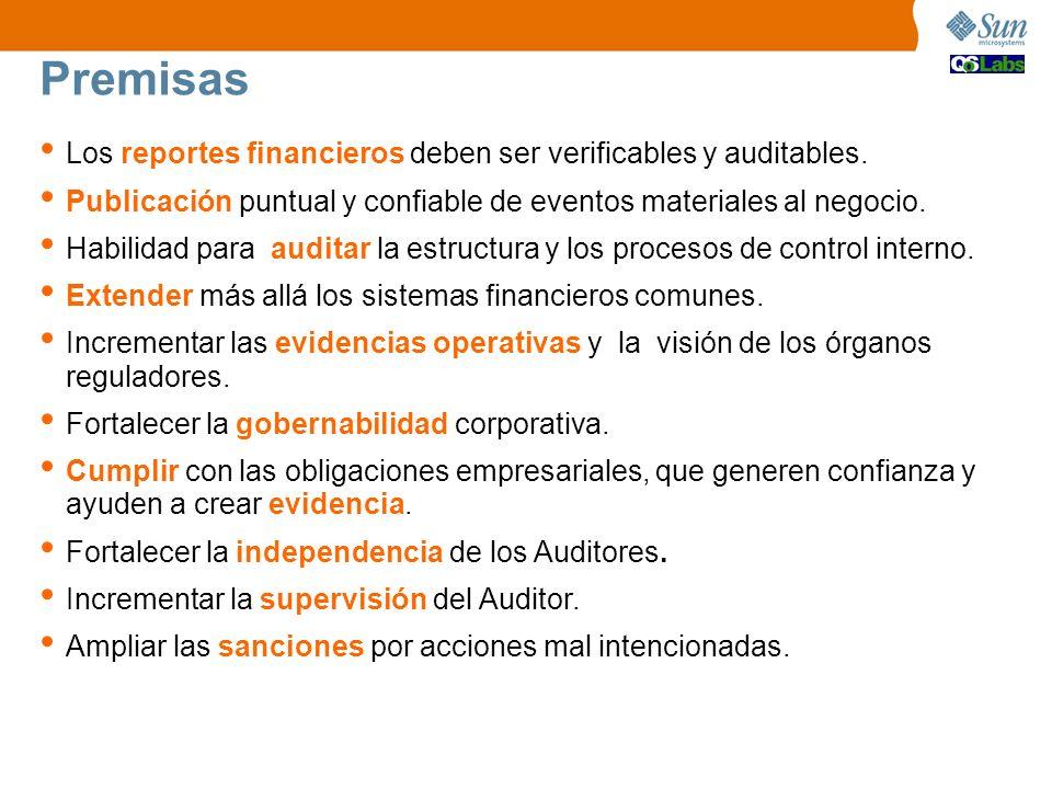 Premisas Los reportes financieros deben ser verificables y auditables.