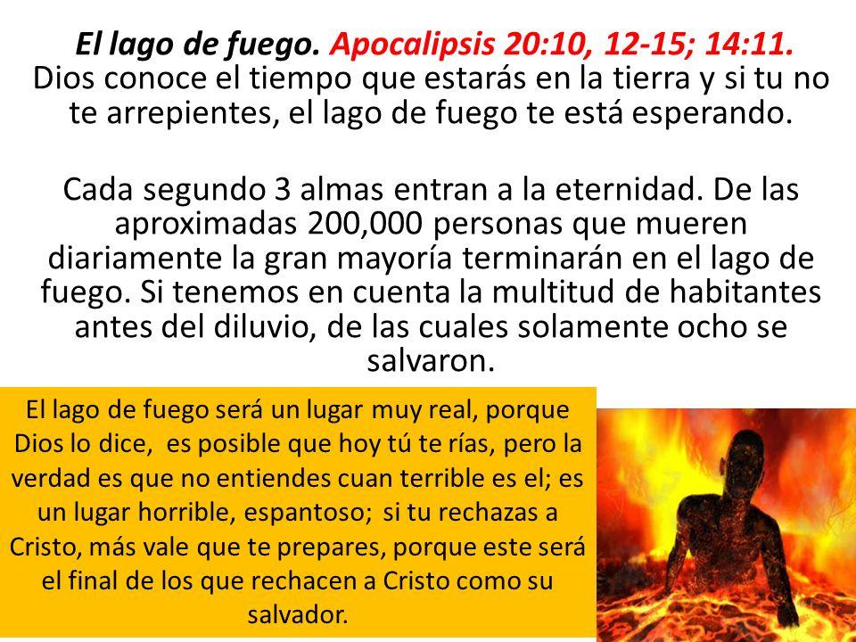 El lago de fuego. Apocalipsis 20:10, 12-15; 14:11