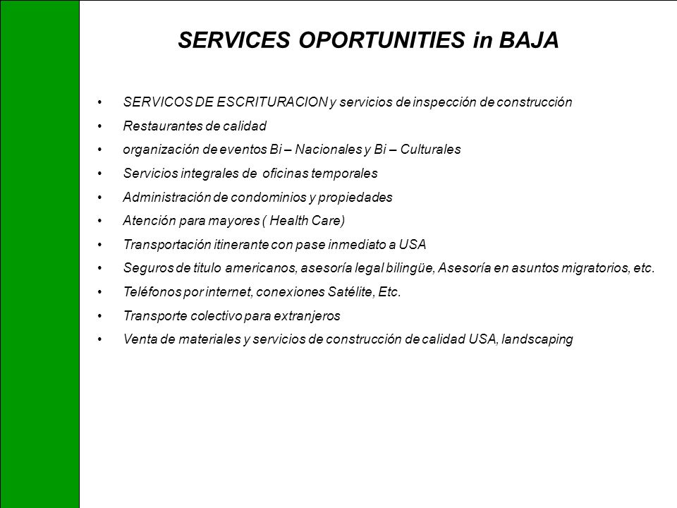 SERVICES OPORTUNITIES in BAJA