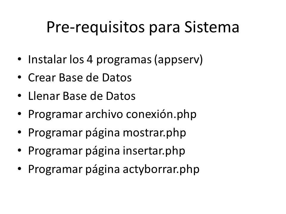 Pre-requisitos para Sistema
