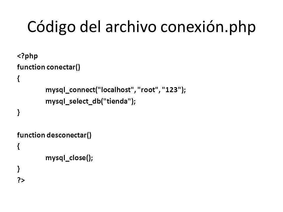 Código del archivo conexión.php