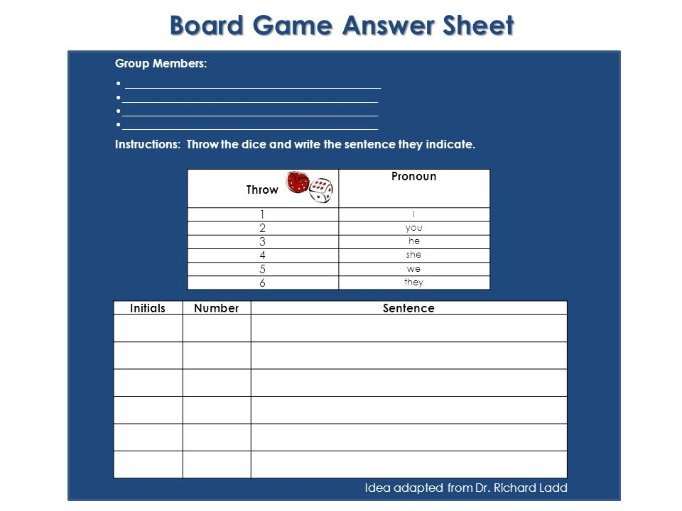 Board Game Answer Sheet