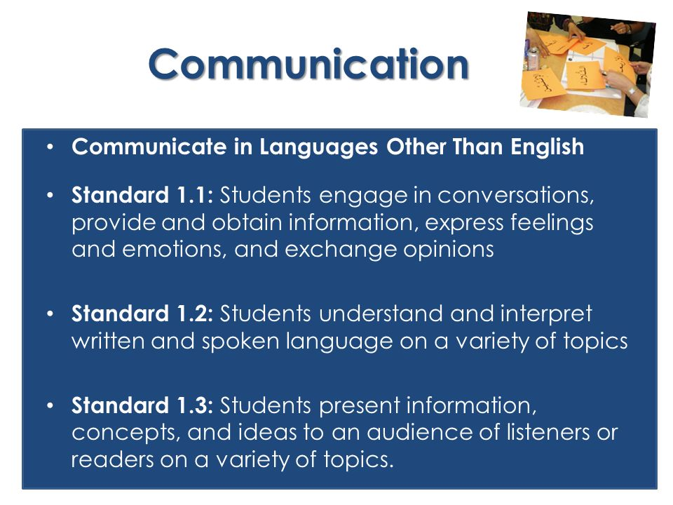 Communication Communicate in Languages Other Than English