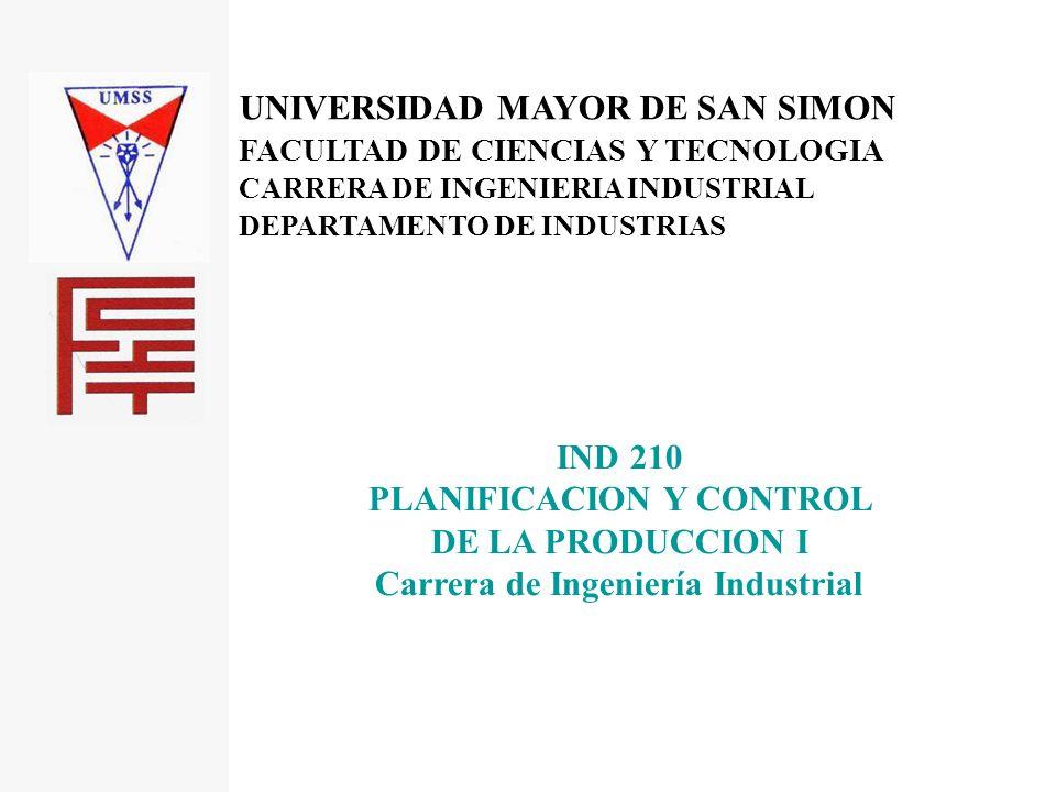 PLANIFICACION Y CONTROL Carrera de Ingeniería Industrial
