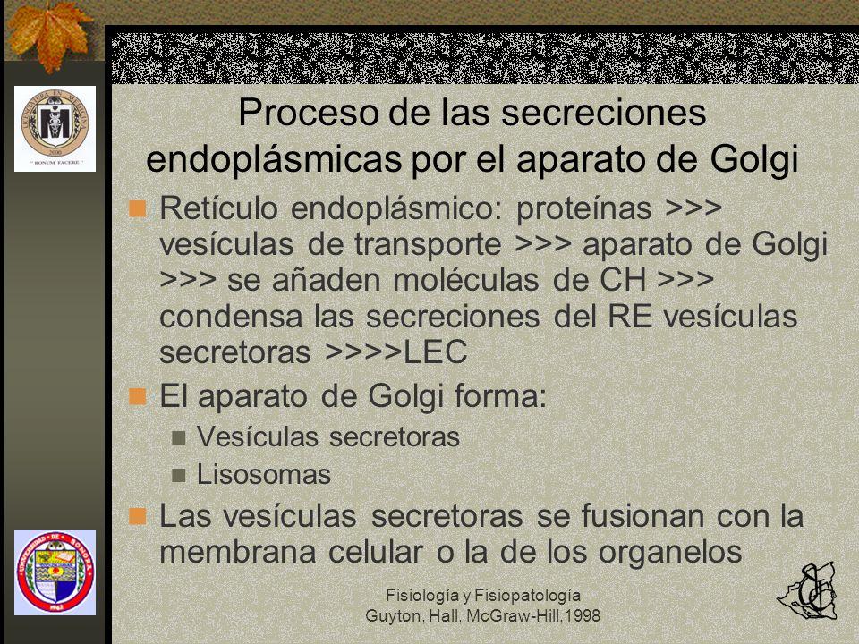 Proceso de las secreciones endoplásmicas por el aparato de Golgi
