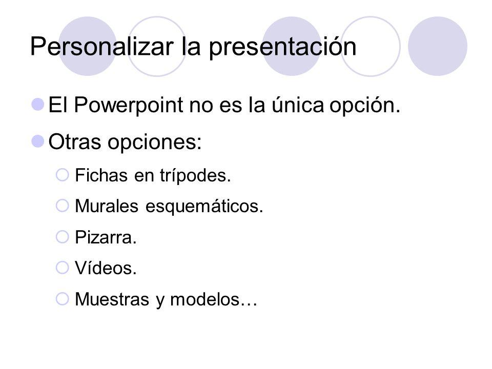 Personalizar la presentación