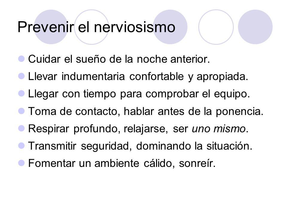 Prevenir el nerviosismo
