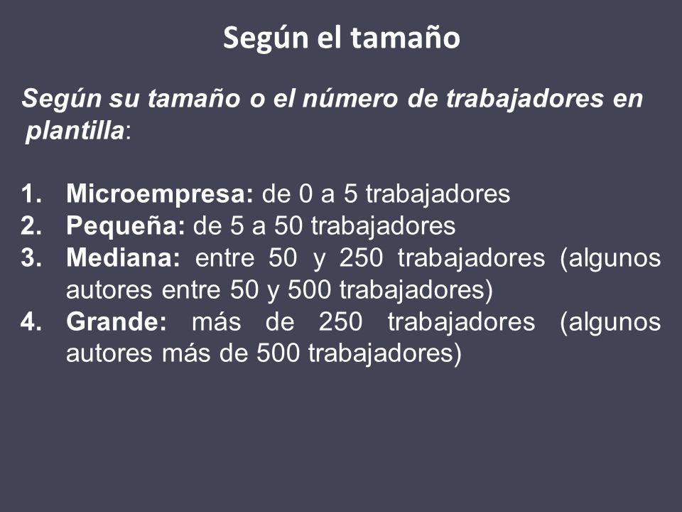 Según el tamañoSegún su tamaño o el número de trabajadores en plantilla: Microempresa: de 0 a 5 trabajadores.