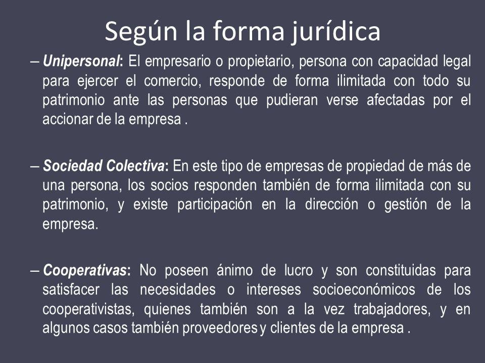 Según la forma jurídica