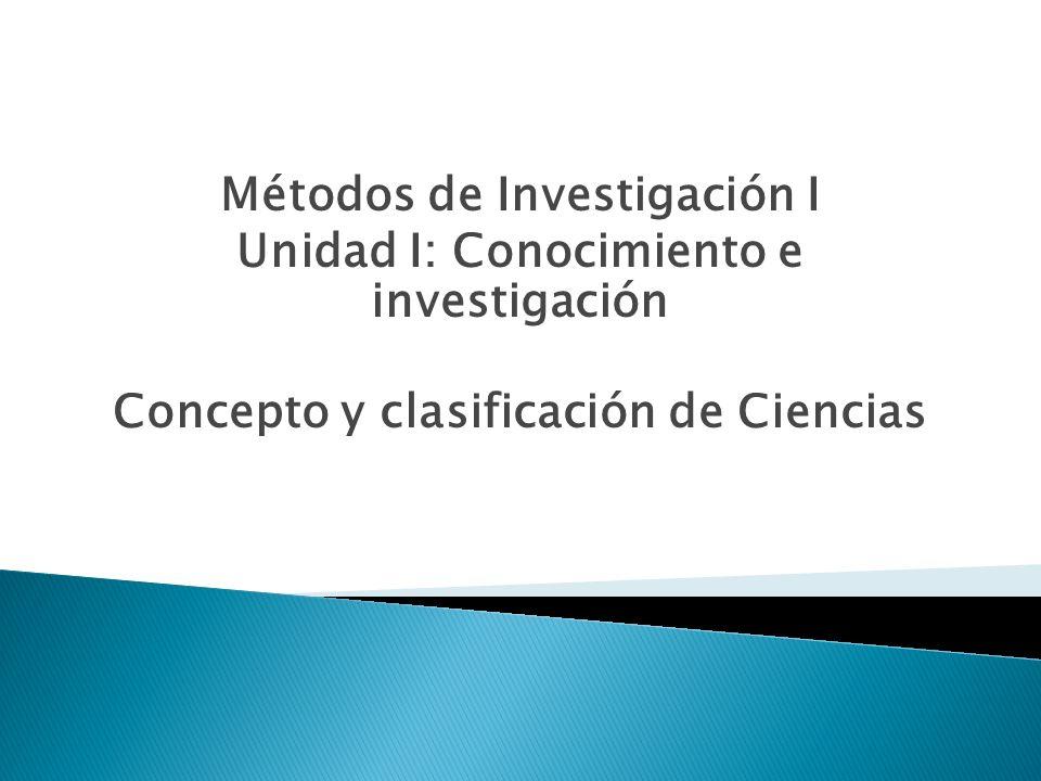 Métodos de Investigación I Unidad I: Conocimiento e investigación