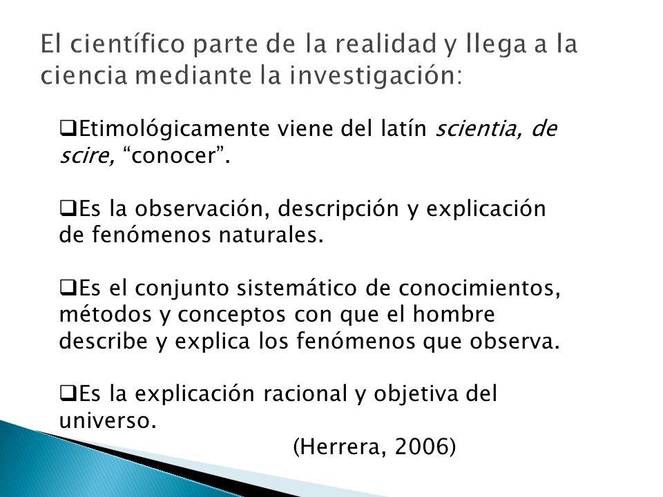 El científico parte de la realidad y llega a la ciencia mediante la investigación: