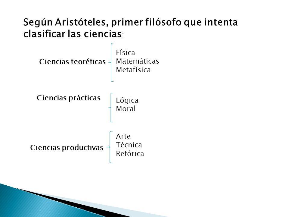 Según Aristóteles, primer filósofo que intenta clasificar las ciencias: