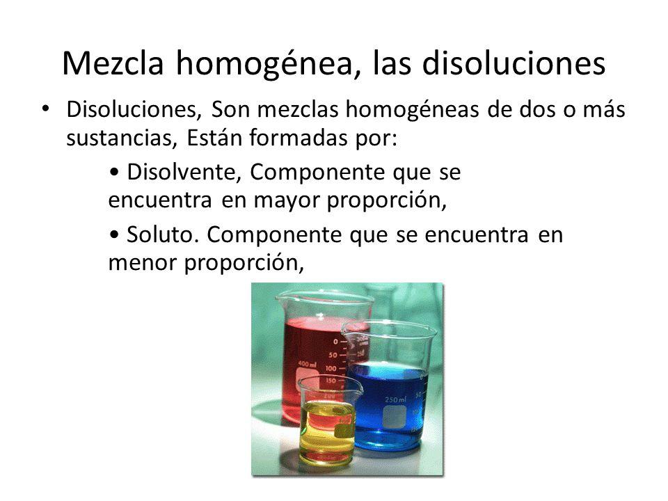 Mezcla homogénea, las disoluciones