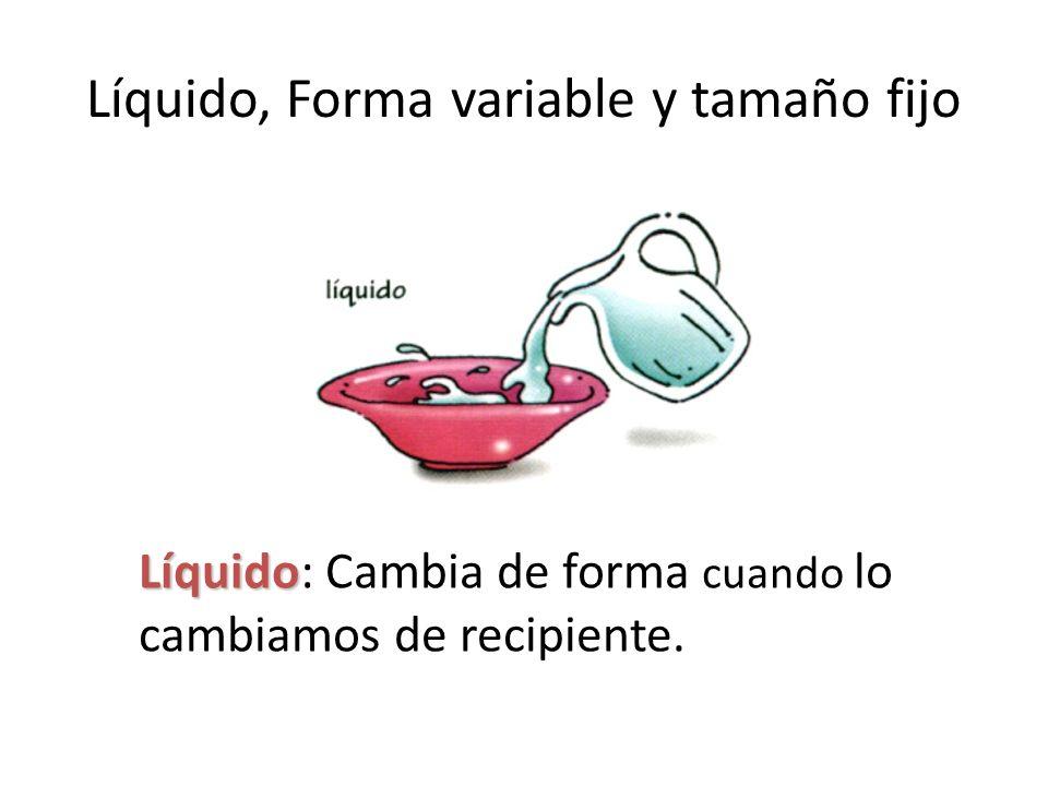Líquido, Forma variable y tamaño fijo