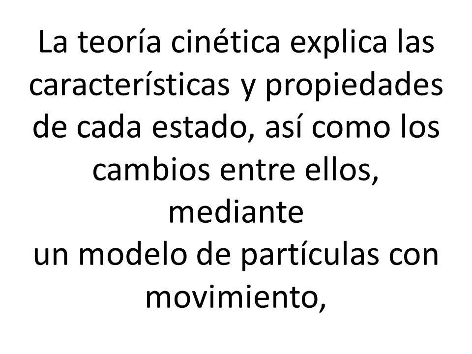 La teoría cinética explica las características y propiedades de cada estado, así como los cambios entre ellos, mediante un modelo de partículas con movimiento,