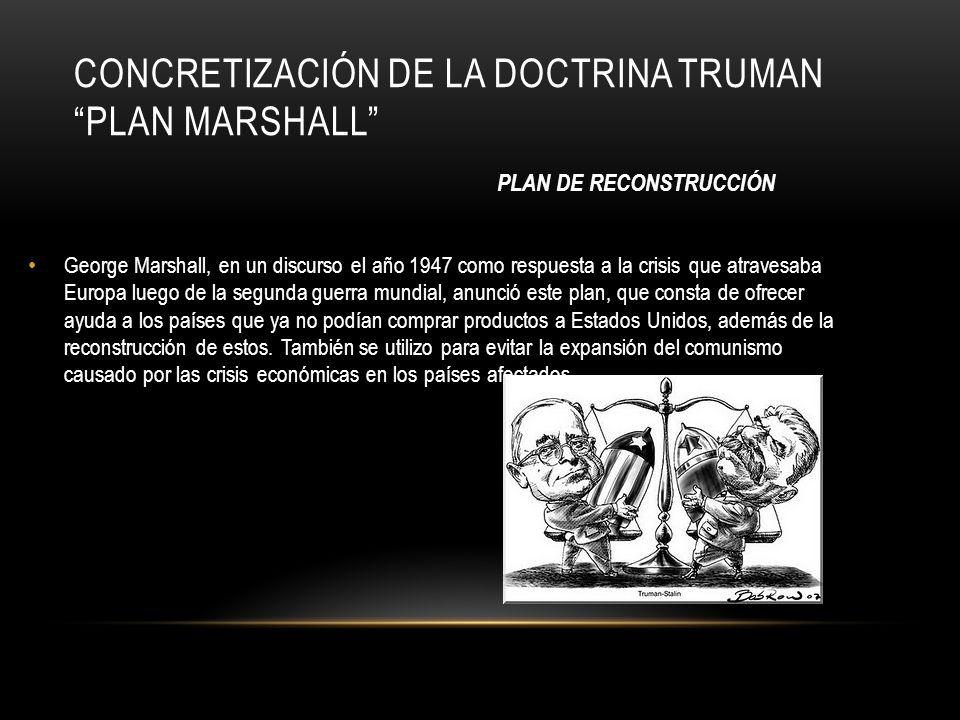 CONCRETIZACIÓN DE LA DOCTRINA TRUMAN PLAN MARSHALL