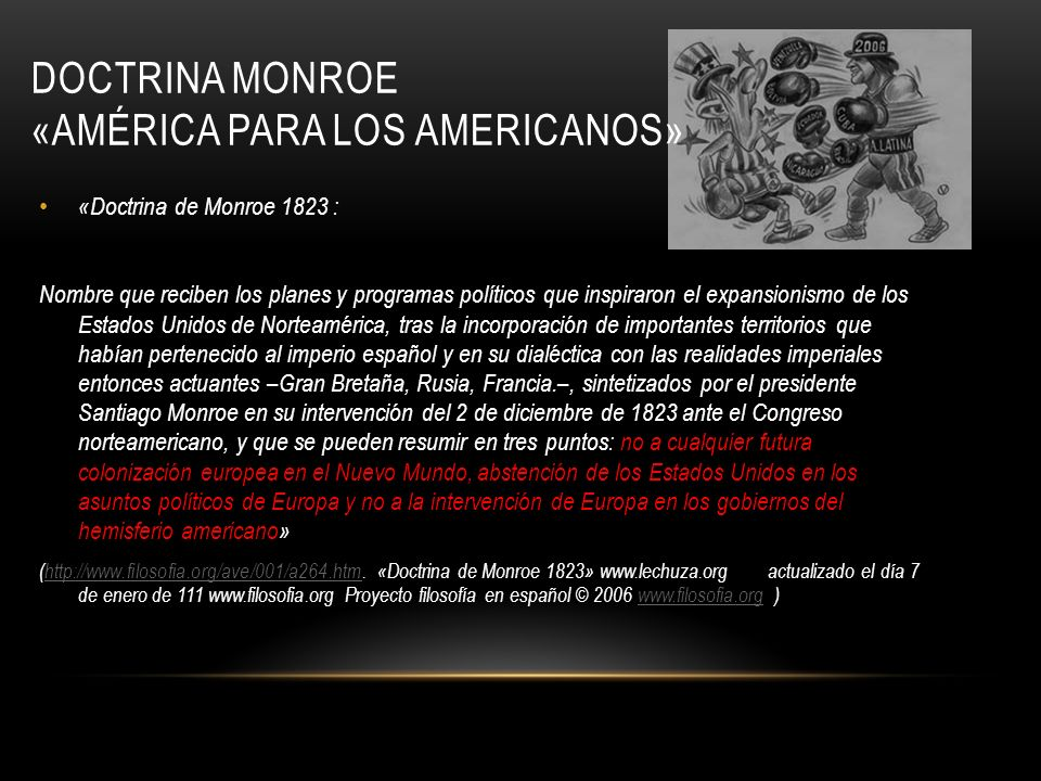 DOCTRINA MONROE «AMÉRICA PARA LOS AMERICANOS»